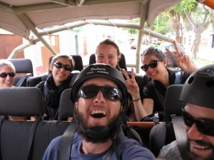The crew as we tear out of Huacachina towards the dunes!