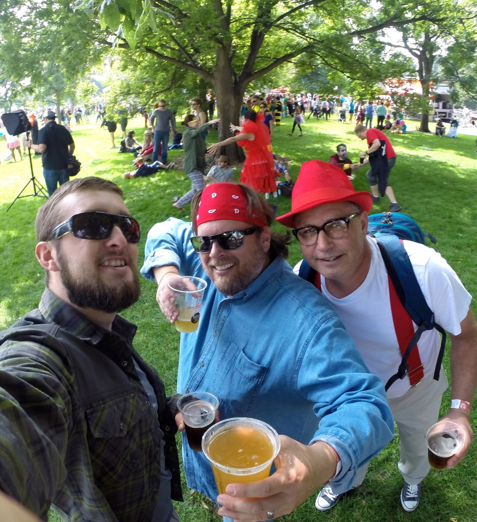 Celebrating a successful Tour de Fat with two of the best Rangers out there, double fisting and trying to find a safe zone to dance.